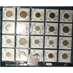 "(20) World Coins in a Plastic Page, identified in 2"" x 2""s. Includes Norway, Philippines, & Poland."
