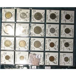 "(20) World Coins in a Plastic Page, identified in 2"" x 2""s. Includes Portugal, Romania, Russia, Rwan"