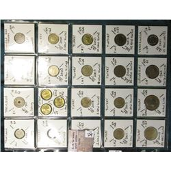 "(20) World Coins in a Plastic Page, identified in 2"" x 2""s. Includes Thailand, Trinidad & Tobago, Tu"