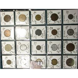"(20) World Coins in a Plastic Page, identified in 2"" x 2""s. Includes Canada, Caribbean States, Cypru"