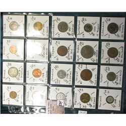 "(20) World Coins in a Plastic Page, identified in 2"" x 2""s. Includes Greece, Israel, Italy, Jamaica,"