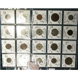 "(20) World Coins in a Plastic Page, identified in 2"" x 2""s. Includes over 100 years old coins from A"