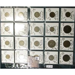 """(20) World Coins in a Plastic Page, identified in 2"""" x 2""""s. Includes Germany, Jamaica, Mexico, Great"""