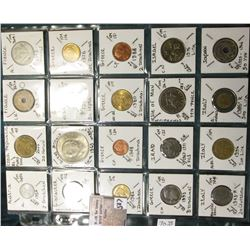 "(20) World Coins in a Plastic Page, identified in 2"" x 2""s. Includes Austria, Czech Republic, France"