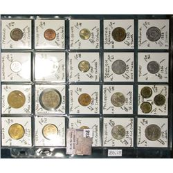 "(20) World Coins in a Plastic Page, identified in 2"" x 2""s. Includes Kenya, Luxembourg, Mexico, Nepa"