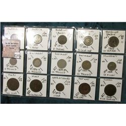 """(15) World Coins in a Plastic Page, identified in 2"""" x 2""""s. Includes over 100 year old coins from Au"""