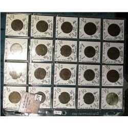 "(20) World Coins in a Plastic Page, identified in 2"" x 2""s. Includes Great Britain Half-Pennies & La"