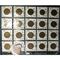 "(20) Different Great Britain Large Pennies 1908-1947 in a Plastic Page, identified in 2"" x 2""s. KM V"