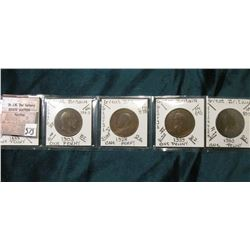 Five Different Rulers depicted on Great Britain Large Pennies. KM Value $6.50.