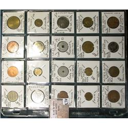 (20) different Transportation, Amusement, Car Wash, and Sales Tax Tokens.