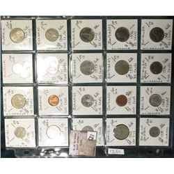 """(20) World Coins in a Plastic Page, identified in 2"""" x 2""""s. Includes Australia, Austria, Bahamas, Ba"""