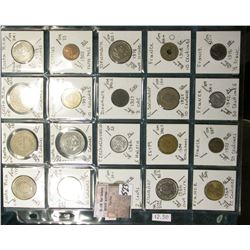 """(20) World Coins in a Plastic Page, identified in 2"""" x 2""""s. Includes Costa Rica, Cyprus, Czechoslova"""