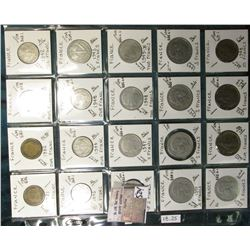 "(20) World Coins in a Plastic Page, identified in 2"" x 2""s. Includes French One to 10 Francs.  KM Va"