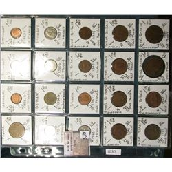 """(20) World Coins in a Plastic Page, identified in 2"""" x 2""""s. Includes France, Germany, Ghana, & Great"""