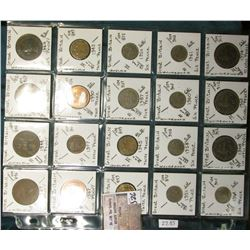 "(20) Great Britain Coins in a Plastic Page, identified in 2"" x 2""s. Includes Large Pennies to 10 New"