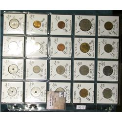 "(20) World Coins in a Plastic Page, identified in 2"" x 2""s. Includes Greece, Guatemala, Honduras, &"