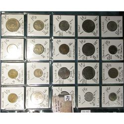 "(20) World Coins in a Plastic Page, identified in 2"" x 2""s. Includes Hong Kong, india, Italy, Jamaic"