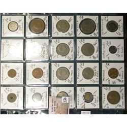 "(20) World Coins in a Plastic Page, identified in 2"" x 2""s. Includes Japan, Luxemborg, Mexico, Moroc"