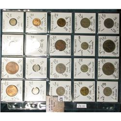 "(20) World Coins in a Plastic Page, identified in 2"" x 2""s. Includes New Zealand, Norway, Pakistan,"
