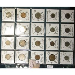 "(20) World Coins in a Plastic Page, identified in 2"" x 2""s. Includes Portugal, Sierra Leone, South A"