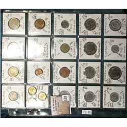 """(20) World Coins in a Plastic Page, identified in 2"""" x 2""""s. Includes Portugal, Spain, Thailand, Turk"""