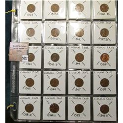 Lincoln Memorial Cents 1959 thru 1982 D. One each all Mints. (51 Copper and 1 Zinc).