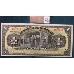 1914 Mexico, Hidalgo One Peso (American Bank Note Co.) Pick # 211. Punch Canceled. CU.
