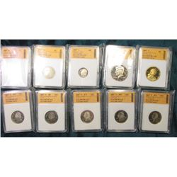 2007 S U.S. Proof Set. All pieces individually slabbed by SGS as PR70CAM.  The cent has a few carbon
