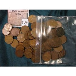 """(86) Mixed Date U.S. """"Wheat ear"""" Lincoln Cents. Avg. circulated."""