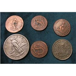 Man & Woman Slave Token Copies; 1903 S Philippines One Peso Replica; (2) U.S.A. Bar Cent Copies; & a