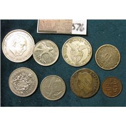 1919 S Philippines Silver Fifty Centavos, VF; 1867 Silver French Franc (damaged); (2) Coins from Spa