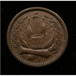 """""""Our Navy"""" Civil War Token. Crossed Cannons with flags, EF."""