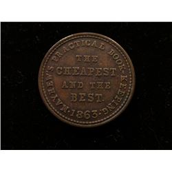 """1863 Civil War Token """"Mayhews Practical Book-Keeping/The/Cheapest/and the/Best./1863"""", """"Albion Comme"""
