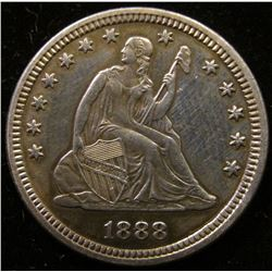 1888 U.S. Seated Liberty Quarter. Lightly toned Proof 60. Only 832 of this rare coin were minted. On