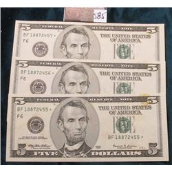 """(3) Consecutive Serial Number Series 1999 $5 Federal Reserve Notes. All """"STAR"""" Replacement notes, sl"""