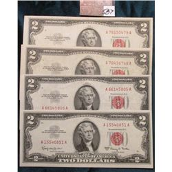 """(2) Series 1953B, 1953C, & 1963A Two Dollar """"Red Seal"""" United States notes. VF to CU."""