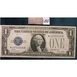 """Series 1928A One Dollar Star """"Replacement"""" Silver Certificate """"Funny Back"""" Micro plate H837 obv and"""