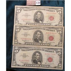 """(3) Series 1963 Five Dollar """"Red Seal"""" United States Notes. Good to Fine."""