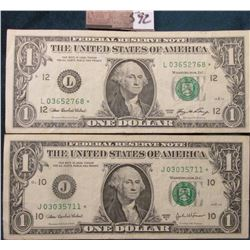 Series 2003A & 2006 Star Replacement One Dollar Federal Reserve Notes. VF-EF.