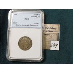 1894 Silver 20C Newfoundland NNC MS60 #2205347  Tone Catlgs. @ $1200 in MS60