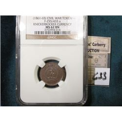 "1861-65 CWT ""Knickerbocker Currency"" Attractive Tone NGC 62BN #3753994-014"