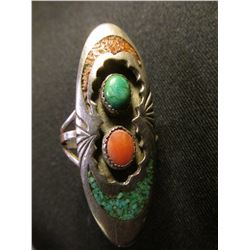 Navajo Silver Turquoise & Coral Ring
