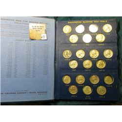 1932-1965 Partial Set of Washington Quarters, most of which are EF-Unc in a Whitman Coin Album. (68