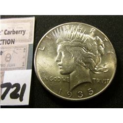 1935 P U.S. Peace Silver Dollar. Brilliant Uncirculated.