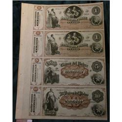 "Republic of Chile Un-cut Sheet of Currency from ""El Banco Del Pobre"" Serial no. 23686. Includes (2)"