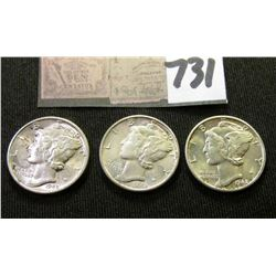 1942 P, D, & S Mercury Dimes. All EF to AU.