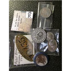 (5) Uncirculated Iranian Coins; Israel Coin; Mexico Coin; Civil Air Patrol Pnedant; North Dakota Fox