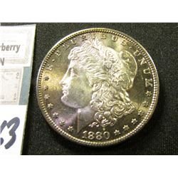 1880 S Morgan Silver Dollar. Superb Original Toned Gem BU.