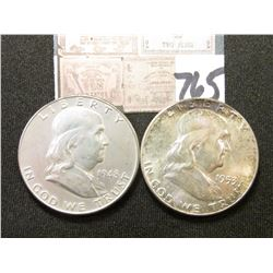 1948 D EF & 53P Lightly toned Original BU Franklin Half Dollars. (2 pcs.).