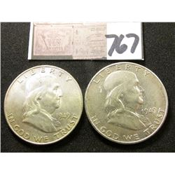 1949 D & S Franklin Half Dollars. EF-AU. (2 pcs.).